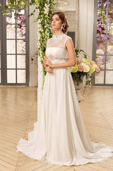 A-Line Long High-Neck Sleeveless Illusion Chiffon Dress With Lace And Waist Jewellery