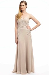 Maxi Ruched Sleeveless Sweetheart Chiffon Prom Dress With Appliques