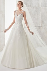Jewel-Neck Illusive A-Line Wedding Dress With Lace Appliques And Open Back