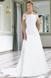 A-Line Floor-Length Lace Off-The-Shoulder Satin Wedding Dress