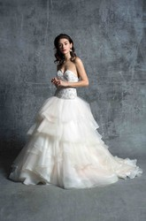 Ball Gown Sweetheart Tiered Organza Wedding Dress With Deep-V Back