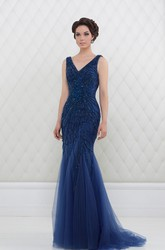 Trumpet V-Neck Beaded Long Sleeveless Tulle Prom Dress With Pleats