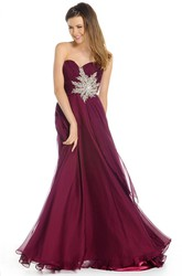 A-Line Crystal Sweetheart Maxi Sleeveless Chiffon Prom Dress With Zipper Back And Ruching