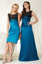Pencil Short Sleeveless Ruched Scoop Neck Satin Bridesmaid Dress