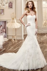 Sweetheart Sheath Lace Wedding Dress With Brush Train