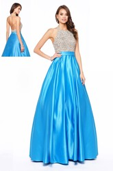 A-Line Scoop-Neck Sleeveless Satin Backless Dress With Beading