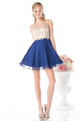 A-Line Short Jewel-Neck Sleeveless Illusion Dress With Beading