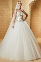 Excellent Sweetheart A-Line Puffy Gown With Beaded Corset And Wire Back