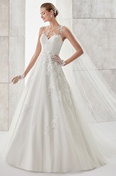 Jewel-neck A-line Illusive Wedding Dress with Lace Appliques and Satin Sash