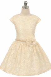 Tea-Length Tiered Pleated Tulle&Sequins Flower Girl Dress