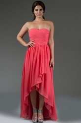 Sweetheart High Low Chiffon Bridesmaid Dress With Criss-Cross Bodice