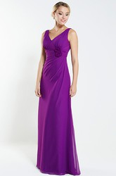 A-Line V-Neck Floral Sleeveless Maxi Chiffon Bridesmaid Dress With Draping