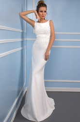 Sheath Scoop Long Appliqued Sleeveless Satin Wedding Dress With Keyhole Back And Brush Train