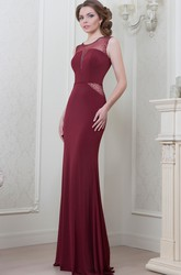 Sheath Scoop-Neck Sleeveless Beaded Maxi Chiffon Evening Dress