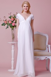 Low V Neck A-line Chiffon Maternity Wedding Dress With Lace Bodice