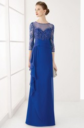 Sheath Jewel-Neck 3-4-Sleeve Long Draped Chiffon Prom Dress With Beading And Sequins