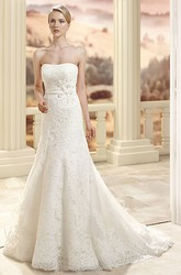 Sheath Maxi Appliqued Sleeveless Strapless Lace Wedding Dress With Flower And Cape