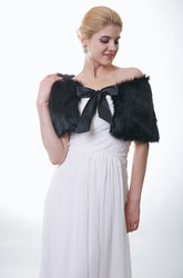 Off-The-Shoulder Black Faux Fur Wrap With Satin Bow