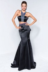 Mermaid Long Jewel-Neck Sleeveless Satin Court Train Dress With Beading And Draping