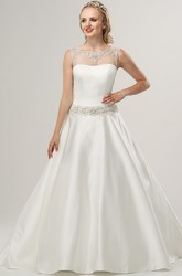 A-Line Scoop-Neck Beaded Sleeveless Floor-Length Satin Wedding Dress With Waist Jewellery