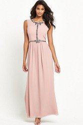 Ankle-Length Scoop Neck Short Sleeve Jeweled Chiffon Bridesmaid Dress