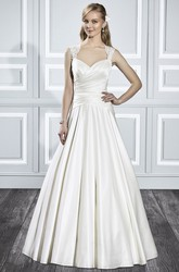A-Line Sleeveless Queen-Anne Criss-Cross Floor-Length Satin Wedding Dress With Pleats And Illusion Back