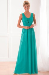 Sleeveless A-Line Bridesmaid Dress With Lace Detail And V-Back