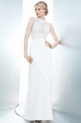 Sheath Appliqued Floor-Length Sleeveless Jewel Lace&Satin Wedding Dress With Sweep Train And Illusion Back