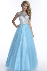 Tulle Cap Sleeve Rhinestone Bodice A-Line Illusion Back Prom Dress