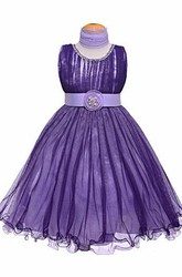 Tea-Length Jewel Tiered Pleated Tulle&Satin Flower Girl Dress