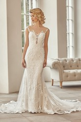 Maxi Bateau Cap-Sleeve Appliqued Lace&Tulle Wedding Dress