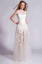 Sweetheart A-Line Tulle Prom Dress With Petals And See-Through Skirt