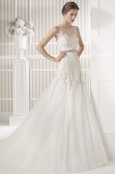 A-Line Appliqued Sleeveless Scoop Floor-Length Tulle&Satin Wedding Dress With Waist Jewellery And Illusion Back