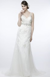 A-Line Beaded Sleeveless V-Neck Maxi Tulle Wedding Dress With Low-V Back And Waist Jewellery
