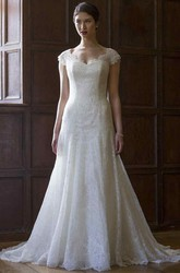 A-Line Cap-Sleeve V-Neck Lace Wedding Dress With Illusion