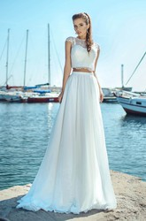 Chiffon and Tulle Two-piece Jewel Neck Cap-sleeve Wedding Dress