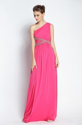 Floor-length Sleeveless A-Line One-shoulder Chiffon Prom Dress with Beading and Pleats