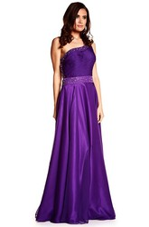 A-Line Ruched Sleeveless One-Shoulder Floor-Length Satin Prom Dress With Beading