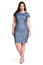 Pencil Scoop-Neck Short-Sleeve Short Sequins Plus Size Bridesmaid Dress