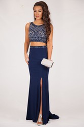 Sheath Sleeveless Floor-Length Scoop-Neck Beaded Jersey Prom Dress With Split Front