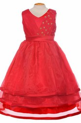 V-Neck Tea-Length Pleated Tiered Organza&Satin Flower Girl Dress With Ribbon