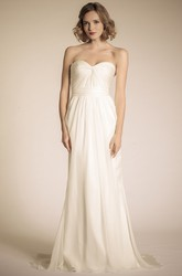 Sweetheart Maxi Ruched Chiffon Wedding Dress With Sweep Train And V Back