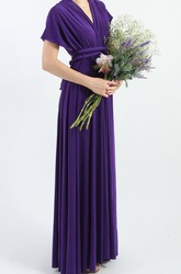 Purple Floor Length Infinity Convertible Formal Multiway Wrap Dress