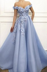 Ethereal Off-the-shoulder Ball Gown Dress With Floral Appliques And Beading