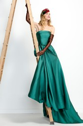 Maxi Strapless Sleeveless Satin Prom Dress
