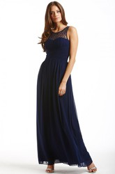Ankle-Length Bateau Neck Sleeveless Ruched Chiffon Bridesmaid Dress