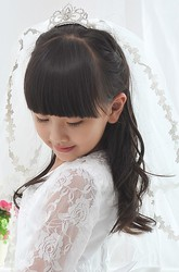Two Tier Ruffled Crown Tulle Flower Girl Elbow Veil