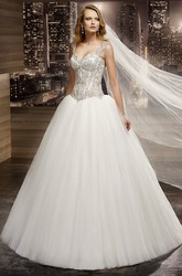 V-neck A-line Wedding Gown with Beaded Corset and Half Open Back