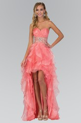A-Line Sweetheart Sleeveless Organza Dress With Criss Cross And Beading