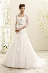 A-Line Long Strapless Lace&Tulle Wedding Dress With Appliques And Waist Jewellery